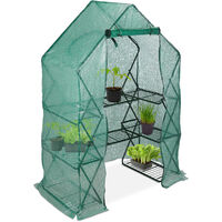 Serre de jardin pliable, Etagère 195 cm plantes tomates semis jardin, Bâche  HxlxP: 195 x 138 x 72 cm, vert