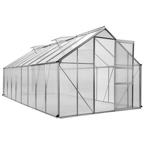 "main image of ""Serre de jardin polycarbonate et aluminium 12m2 translucide 490 - translucide"""
