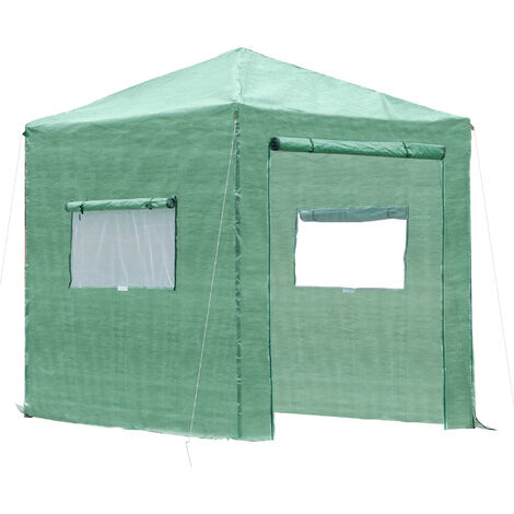 Serre de jardin pop-up porte + 2 fenêtres zippées enroulables sac transport PE vert