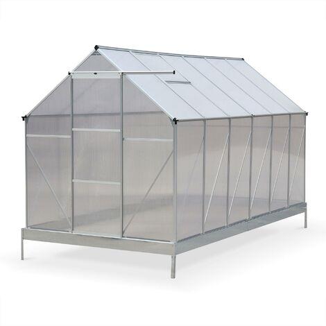 Serre de jardin Sapin en polycarbonate 7m² avec base, 2 lucarnes de toit, gouttière, Polycarbonate 4mm