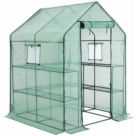 Serre de Jardin Tente abri avec Cadre métallique Bâche Anti-UV résistante 2 étages 2m² Vert GWP12GN - Vert