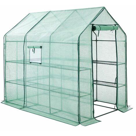 Serre de Jardin Tente abri avec Cadre métallique Bâche Anti-UV résistante 2 étages 3m² Vert GWP13GN - Vert