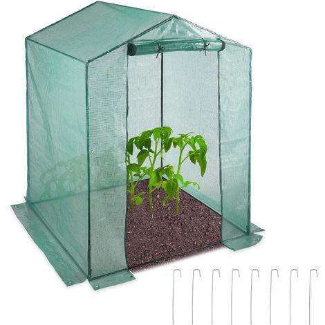 Serre de jardin tomates 200x155x155 cm porte serre tomates bâche housse vert porte enroulable, vert