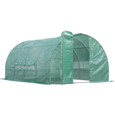 Serre de jardin tunnel 12 m² 4L x 3l x 2H m acier galvanisé renforcé diamètre 2,5 cm + PE haute densité fenêtres porte vert