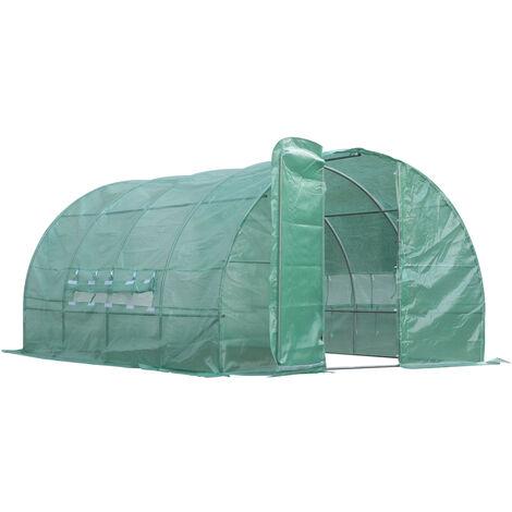 Serre de jardin tunnel 12 m² 4L x 3l x 2H m acier galvanisé renforcé diamètre 2,5 cm + PE haute densité fenêtres porte vert - Vert