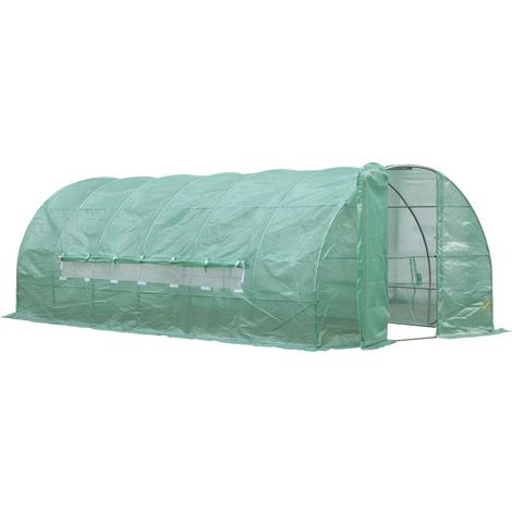 Serre de jardin tunnel 18 m² 6L x 3l x 2H m acier galvanisé renforcé diamètre 2,5 cm + PE haute densité fenêtres porte vert