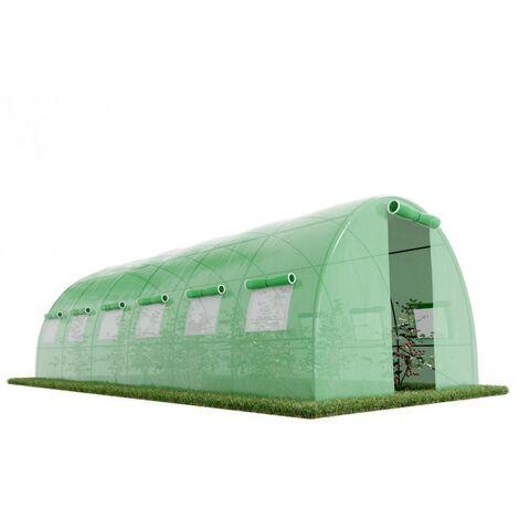 Serre de Jardin Tunnel 18m² - bache armée - avec fenêtres latérales et porte zipée Surface - Vert