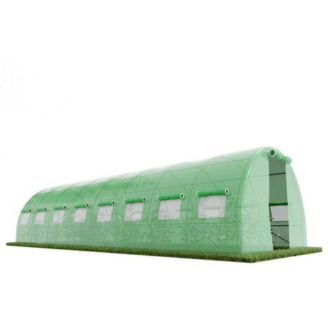 Serre de Jardin Tunnel 24m² - bache armée - avec fenêtres latérales et porte zipée Surface - Vert