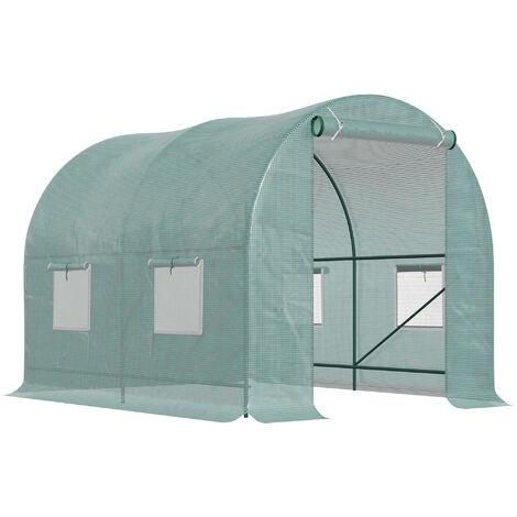 Serre de jardin tunnel 5 m² 2,5L x 2l x 2H m acier renforcé dia. 1,8 cm + PE haute densité 140g/m² fenêtres porte déroulante vert