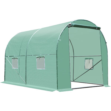 Serre de jardin tunnel acier galvanisé renforcé diamètre 2,4 cm + PE haute densité fenêtres porte
