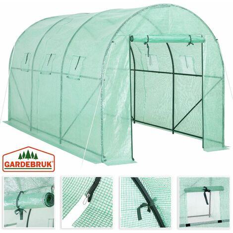 Serre de jardin tunnel bâche polyéthylène 350x200x200cm serre 7 m² légumes semis