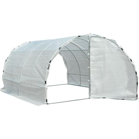 Serre de jardin tunnel surface sol 12 m² 4L x 3l x 2H m châssis tubulaire renforcé 25 mm double porte avec poignées blanc