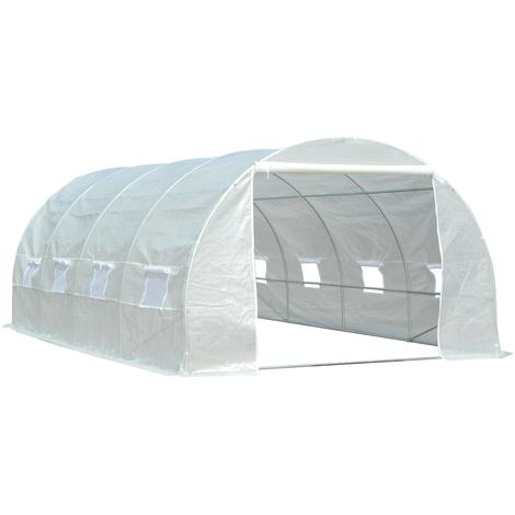 Serre de jardin tunnel surface sol 18 m² 6L x 3l x 2H m châssis tubulaire renforcé 24 mm 8 fenêtres blanc