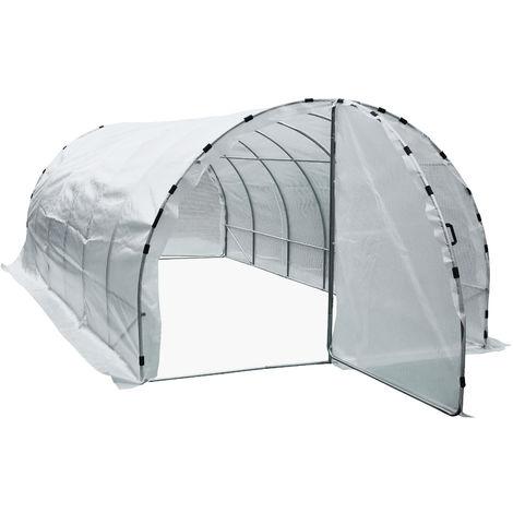 Serre de jardin tunnel surface sol 18 m² 6L x 3l x 2H m châssis tubulaire renforcé 25 mm double porte avec poignées blanc