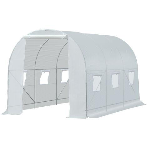Serre de jardin tunnel surface sol 7 m² 3,5L x 2l x 2H m châssis tubulaire renforcé 18 mm 6 fenêtres blanc - Blanc