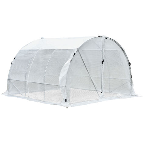Serre de jardin tunnel surface sol 9 m² 3L x 3l x 2H m châssis tubulaire renforcé 25 mm double porte avec poignées blanc