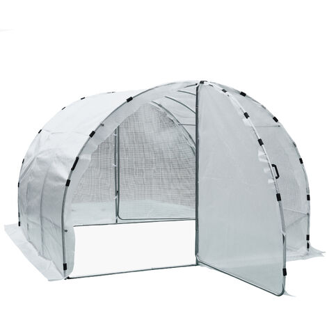 Serre de jardin tunnel surface sol 9 m² 3L x 3l x 2H m châssis tubulaire renforcé 25 mm double porte avec poignées blanc - Blanc