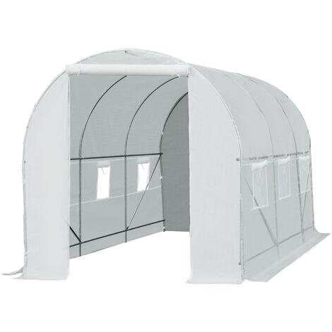 Serre de jardin tunnel surface sol 9 m² 4,5L x 2l x 2H m châssis tubulaire renforcé 18 mm 6 fenêtres blanc