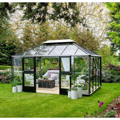 """main image of """"serre de jardin verre trempé 13m² aluminium/noir - f09730 - juliana"""""""