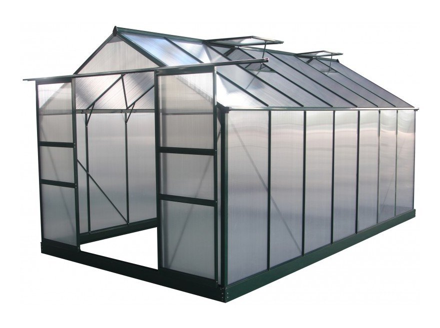 Serre de jardin 13,2m² verte polycarbonate 4mm + embase Green Protect