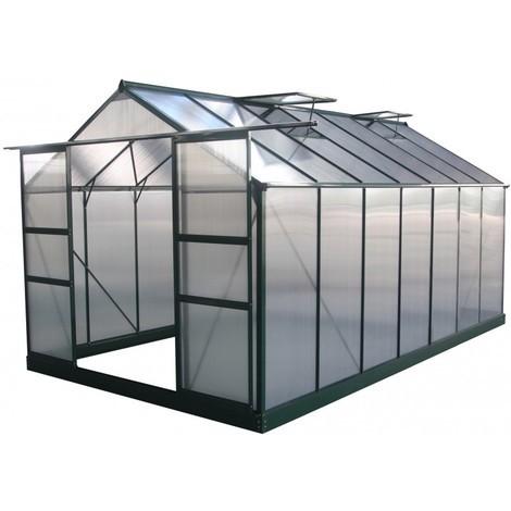 Serre de jardin verte en polycarbonate 4mm + embase Green Protect - 9 à 17 m²