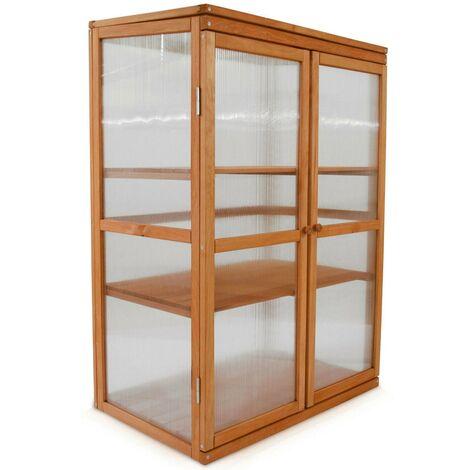 Serre en bois jardin châssis 3 étagères modèle : Printemps 76x47x110,5cm