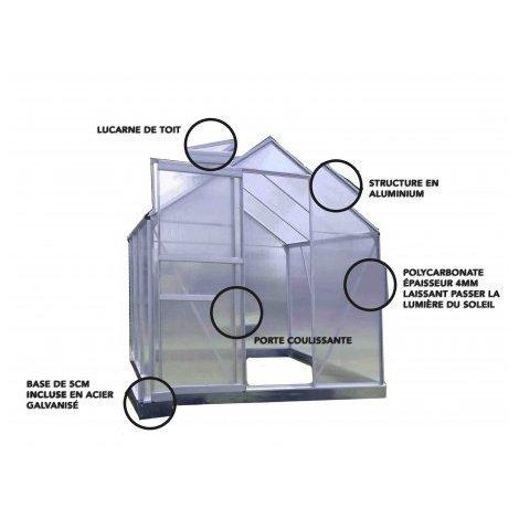 Serre en polycarbonate et aluminium naturel + Base