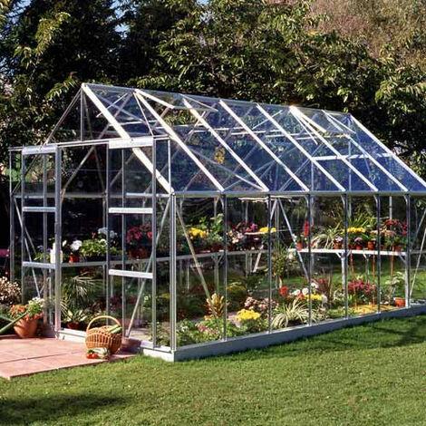 Serre en verre horticole Magnum 148 - 11.50 m², Couleur Forest green, Base Sans base - longueur : 4.46 m