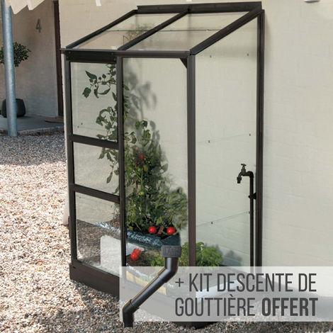 Serre en verre trempé 3 mm adossée MELISSA 0,90 m² - Gris anthracite