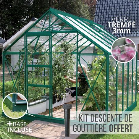 Serre en verre trempé 3 mm CARVI 8,10 m² - Verte