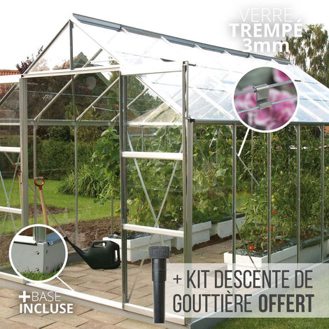 Serre en verre trempé 3 mm LAURUS 11,30 m² - Aluminium naturel
