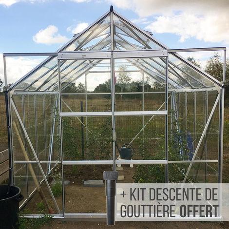 Serre en verre trempé 3 mm LAURUS 8,10 m² - Aluminium naturel