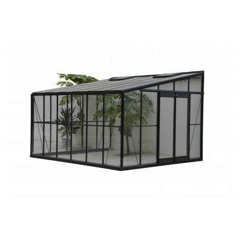 """Serre en verre trempé 4 mm """"JARDIN D'HIVER"""" - 11,5 m² - Aluminium peint anthracite"""