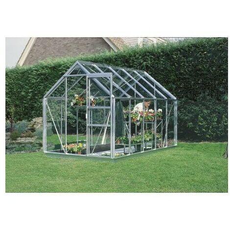 Serre en verre trempé 4 mm modèle 106 + Base - 5,8 m² - Aluminium naturel