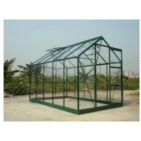 Serre en verre trempé 4 mm modèle 106 + Base - 5.8 m² - Aluminium peint vert
