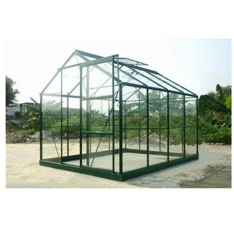 Serre en verre trempé 4 mm modèle 86 + Base - 4.7 m² - Aluminium peint vert