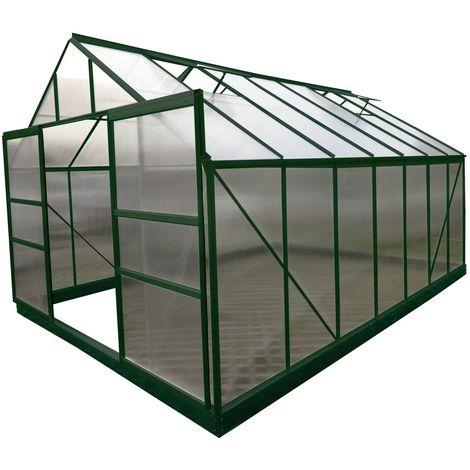 Serre jardin aluminium VERTE - avec base et 4 fenêtres / 12,61 m2