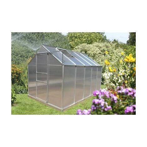 Serre jardin structure aluminium panneaux polycarbonate 4 mm 6,03 m2