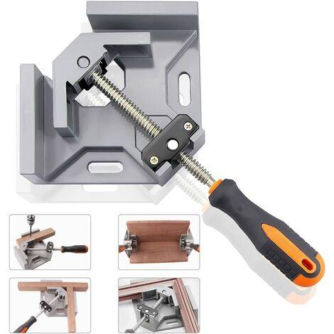 Serre-Joint à Angle Droit,90° Corner Clamp/Etau d'Angle à une main en Aluminium avec une Capacité d'Ecartement de 70 mm pour le Travail du Bois, l'Ingénierie, le Soudage, le Charpentier