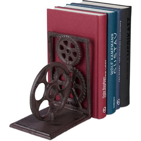 Serre-livres, Presse-livres en fonte, Range-livres décoration vintage, pellicule, HxlxP: 16x13x10 cm, brun