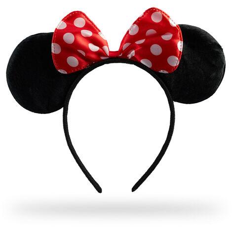 Serre-tête minnie, avec oreilles de souris et nœud à pois, déguisement, carnaval, accessoire, noir/rouge
