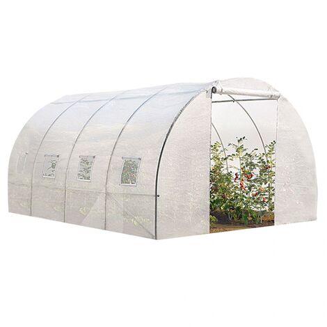 "main image of ""Serre tunnel de jardin 12 m² blanche gamme maraichère ZEBRA 4x3M"""