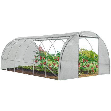 Serre tunnel de jardin 4 saisons 18m² blanche gamme maraîchère CRIMÉE 6x3M