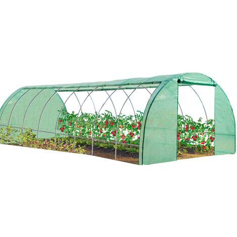 Serre tunnel de jardin 4 saisons 24M² verte gamme maraîchère DES ANDES 8x3M