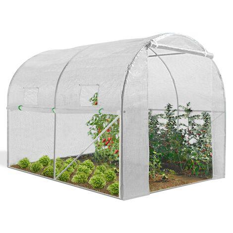 Serre tunnel de jardin 4 saisons 6M² blanche gamme maraichère ROMA 2x3M
