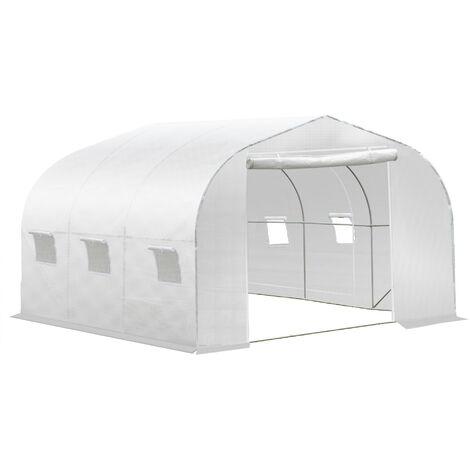 Serre tunnel de jardin dim. 3,5L x 3l x 2H m porte + 6 fenêtres enroulables acier galvanisé bâche PE haute densité blanc