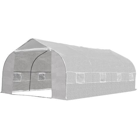 Serre tunnel de jardin dim. 6L x 3l x 2H m porte + 8 fenêtres enroulables acier galvanisé bâche PE haute densité blanc