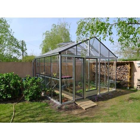 Serre verre trempé 4mm EURO PLUS largeur 3,80 m - Base - Sans, Couleur - Aluminium naturel, Longueur - 3,09 m, Vitrage - Parois et toiture en verre trempé 4 mm