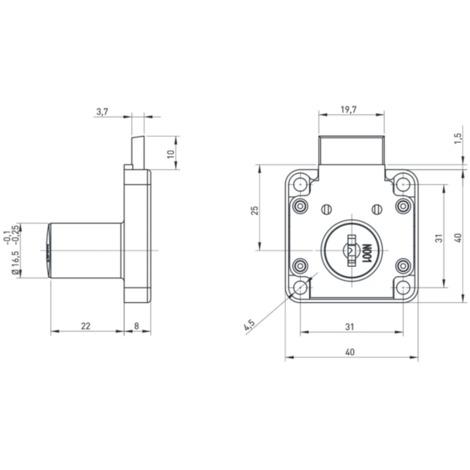SERRURE 1 POINT AXE 25MM BOITIER 40X40 GCHE BASICO(2 CLEFS+ROSACE) F513854.163G