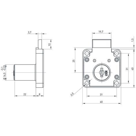 SERRURE 1 POINT AXE 25MM BOITIER 40X40 TIROIR BASICO(2 CLEFS+ROSACE)F513854.161